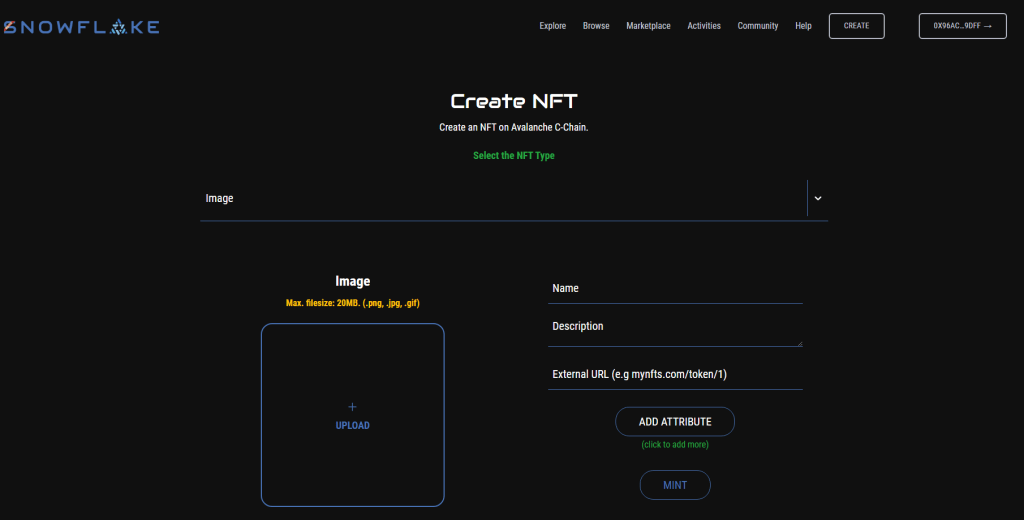creating an nft on the avalanche nft marketplace snowflake.market