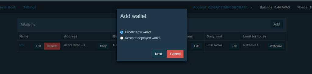 create new pangolin multi sig wallet